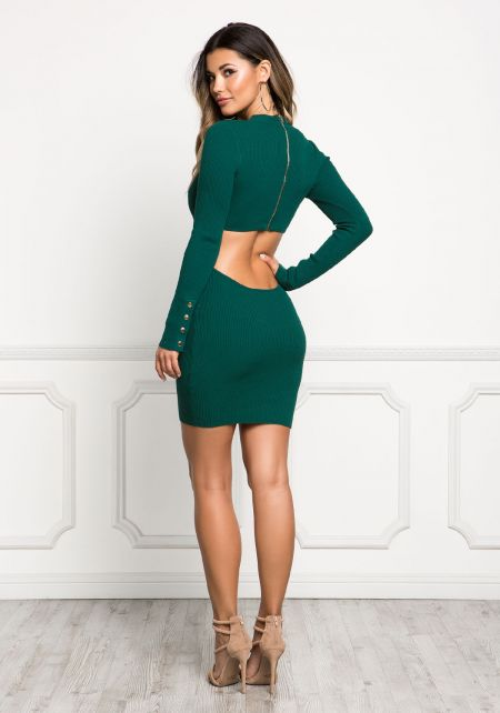 Hunter Green Back Cut Out Button Trim Bodycon Dres