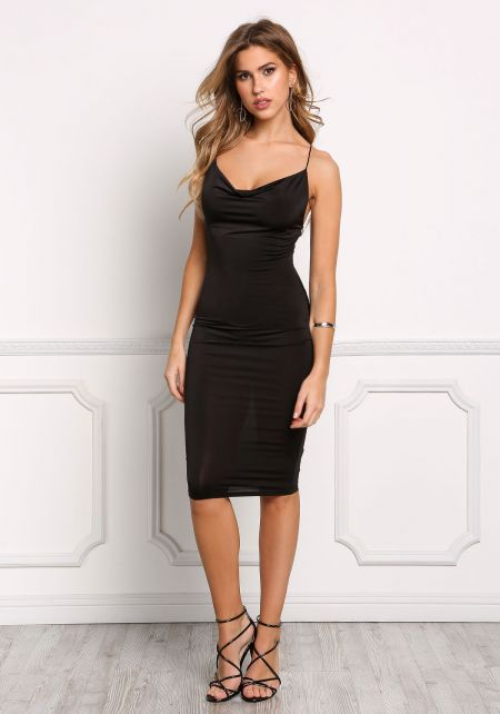 Black Cross Strap Sleek Bodycon Dress
