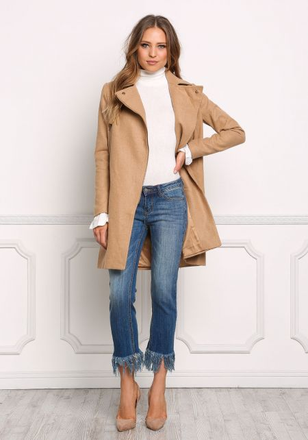 Camel Minimalist Solid Trench Coat