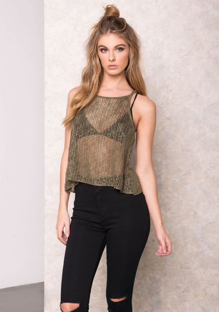 Olive Mesh Knit Cami Top