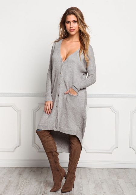Heather Grey Longlined Button Down Cardigan