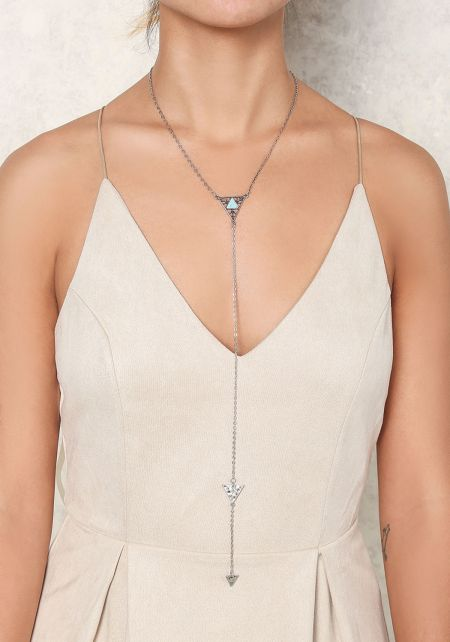 Silver Triangle Drop Necklace