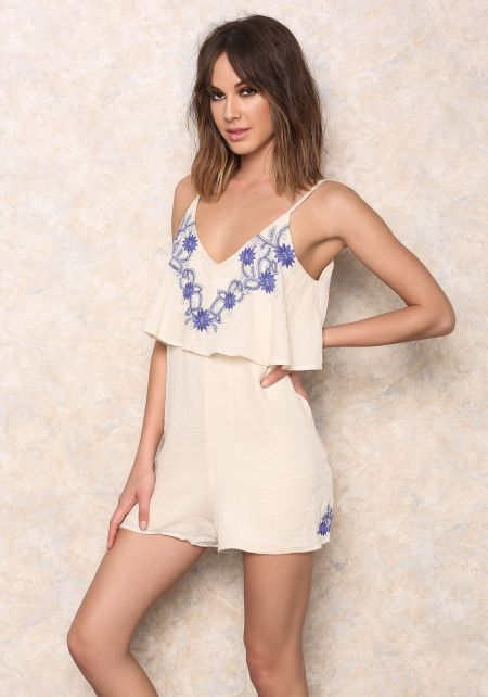 Floral Embroidered Tiered Romper