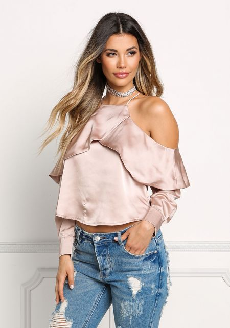 Champagne Silky Cold Shoulder Layered Blouse
