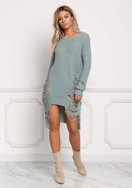 Sage Frayed Thick Sweater Top