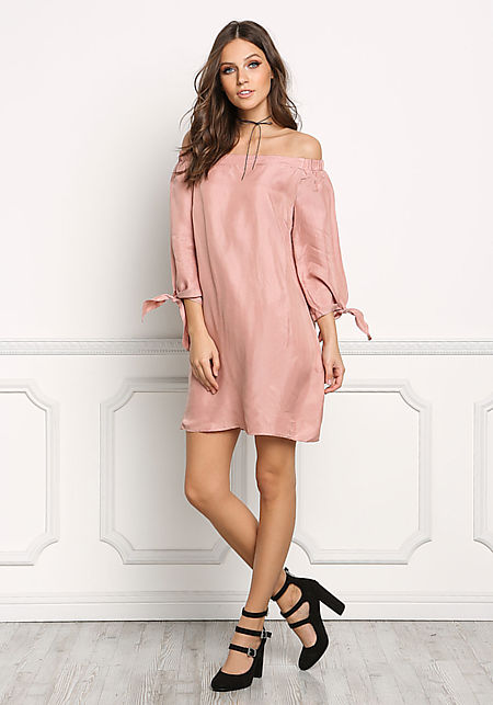 Mauve Suedette Off Shoulder Shift Dress