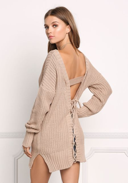 Taupe Sweater Knit Low V Back Top
