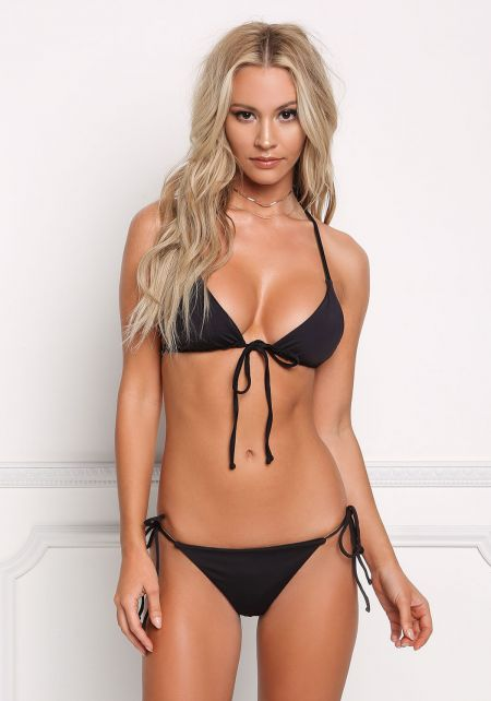 Black Multi Strap Low Rise Swimsuit Bikini Bottoms