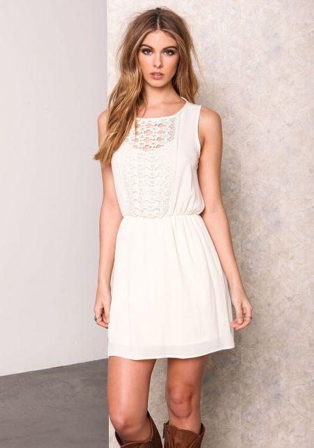 Cream Crochet Backless Flare Dress