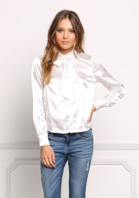 Off White Silky Tie Front Blouse