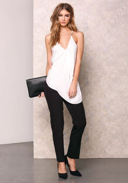 Off White V Neck Slanted Cami Top