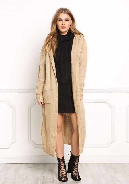 Khaki Longlined Hooded Thick Knit Cardigan
