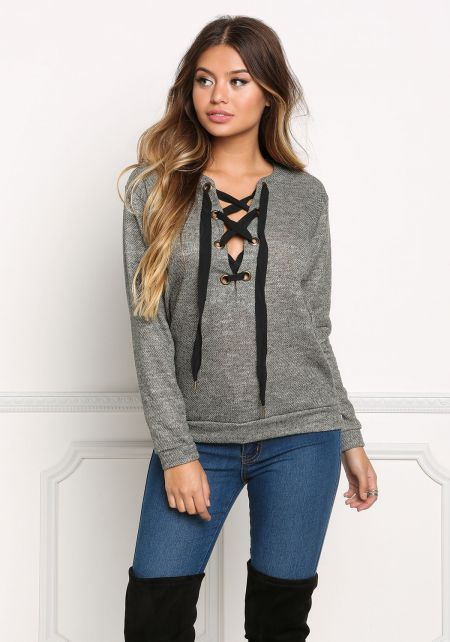 Olive Marled Thick Lace Up Sweater Top
