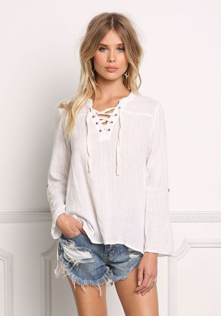 Taupe Linen Stripe Lace Up Top