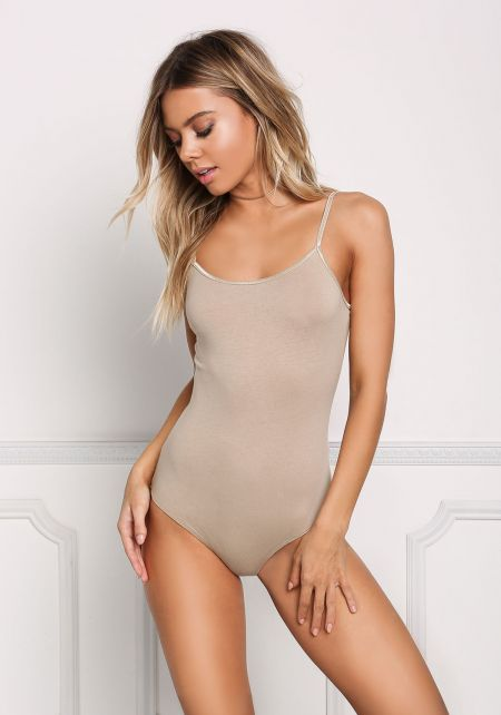 Taupe Basic Jersey Knit Bodysuit