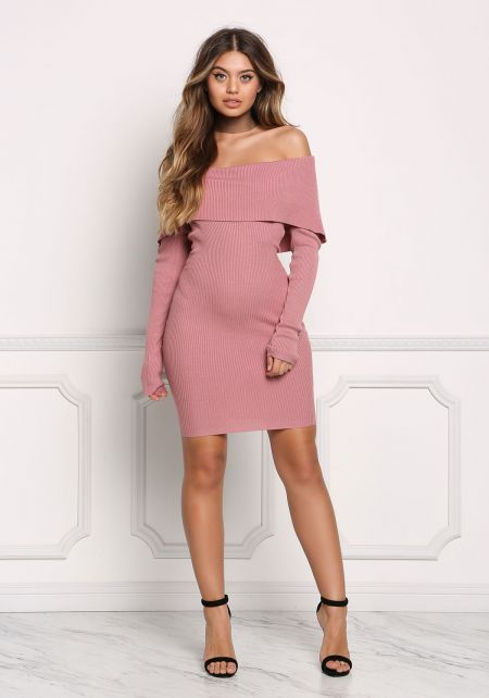 Mauve Fold Over Off Shoulder Bodycon Dress