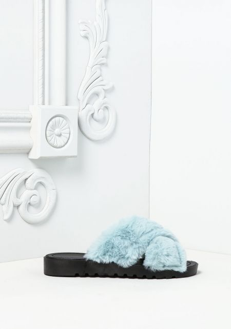 Mint Crossover Faux Fur Slide Sandals