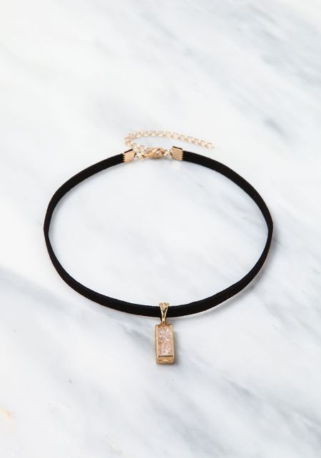 Clear Encrusted Bar Choker
