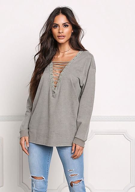 Olive Plunge Lace Up Sweater Top