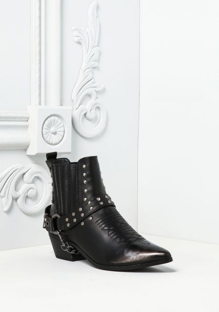 Black Leatherette Studded Chain Boots