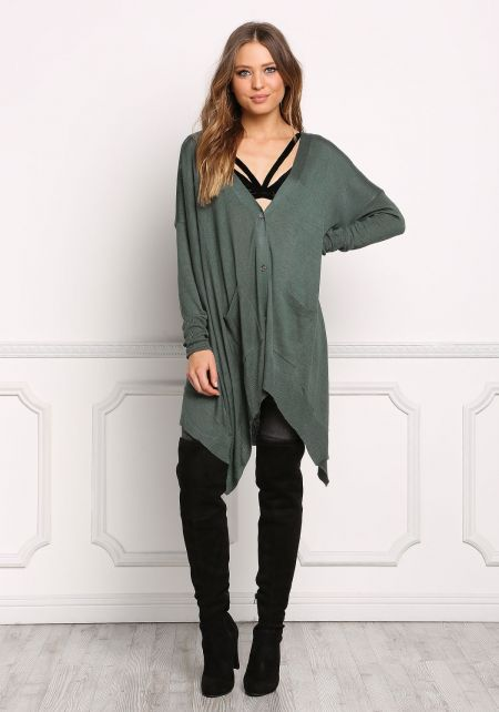 Hunter Green Button Down Pointed Cardigan