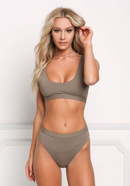 Taupe High Waist Swimsuit Bikini Bottoms