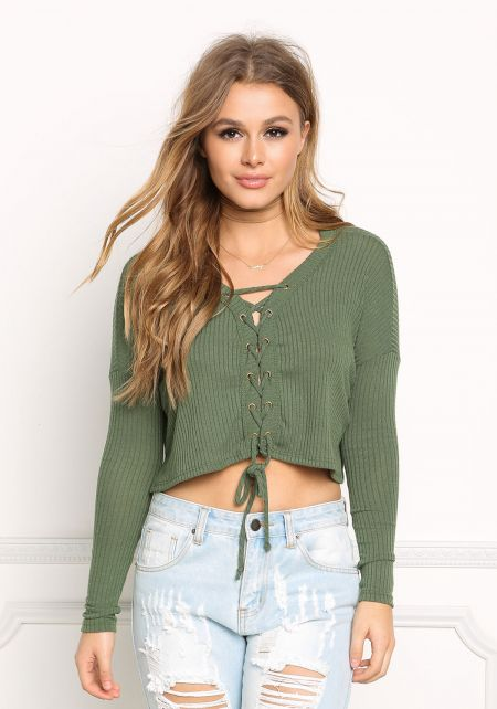Hunter Green Lace Up Sweater Crop Top