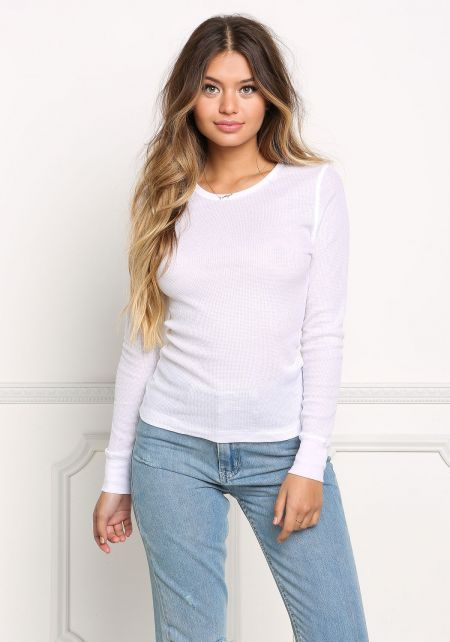 White Thermal Pullover Top