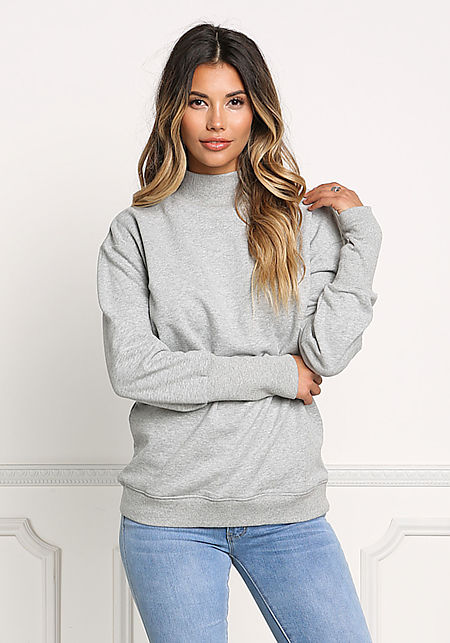 Heather Grey High Neck Pullover Sweater
