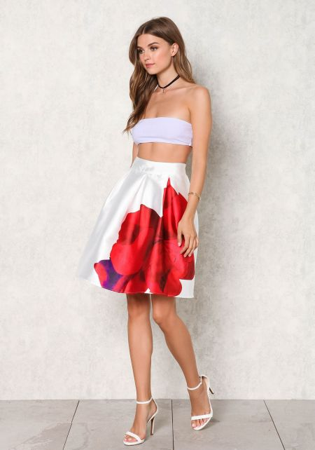 White Taffeta Large Rose Flared Skirt