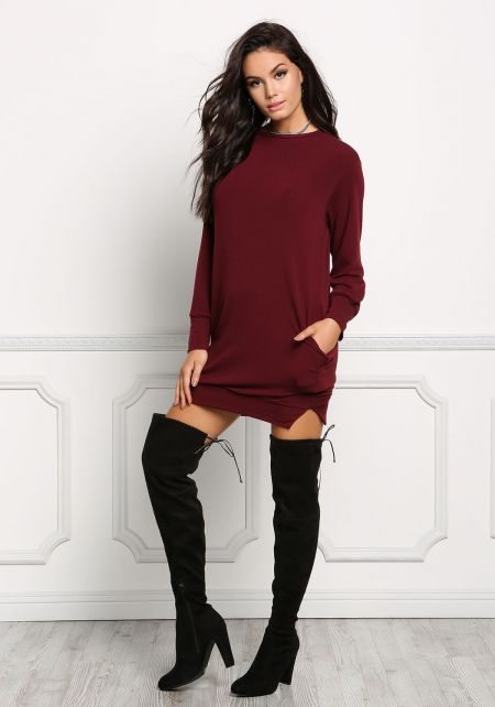 Burgundy Pullover Sweater Dress