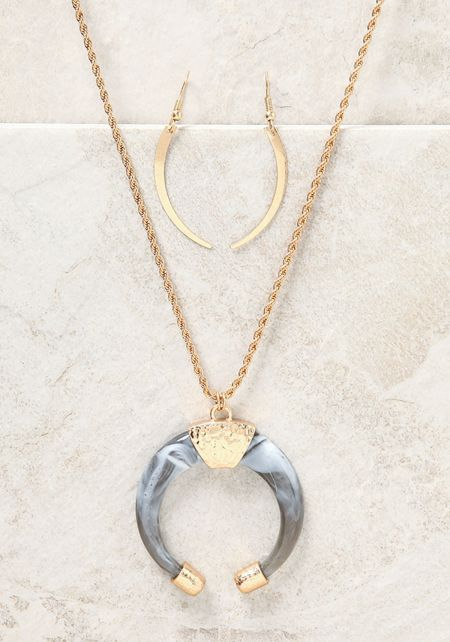 Grey Curved Stone Delicate Necklace