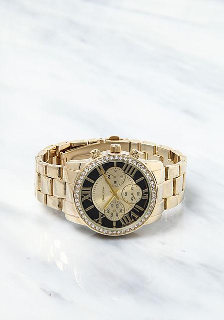 Black Rhinestone Chronograph Analog Watch