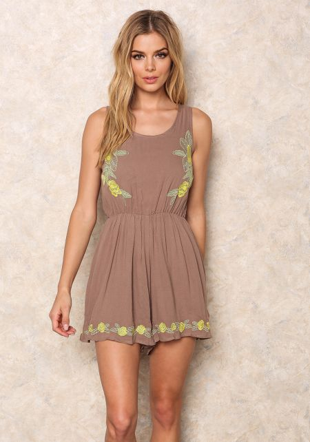 Brown Tropic Embroidered Romper
