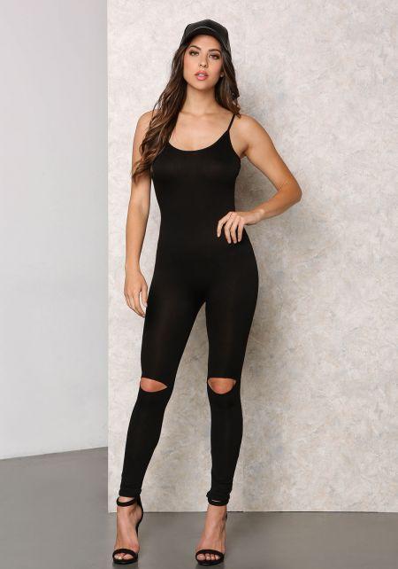 Black Jersey Knit Knee Slit Low Back Jumpsuit