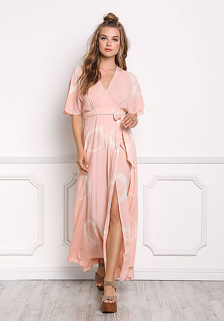 Blush Tie Dye Wrap Maxi Dress