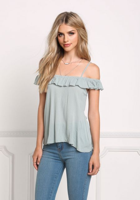 Sage Cold Shoulder Ruffle Blouse