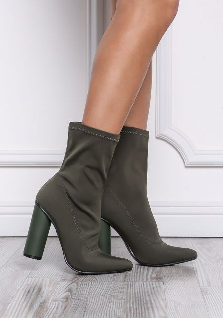 Olive Sock Ankle Boots
