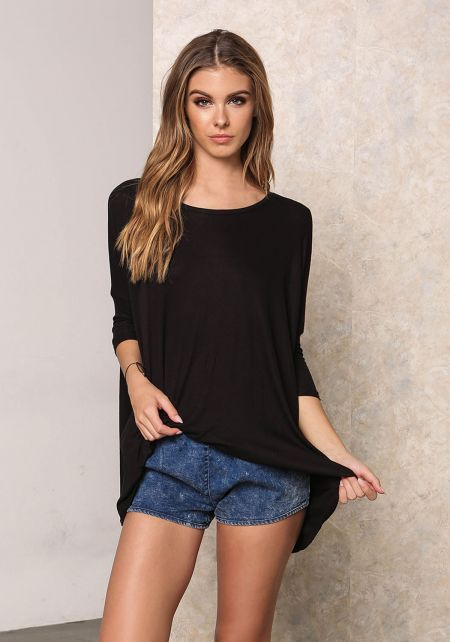Black Ribbed Knit Pointed T-Shirt