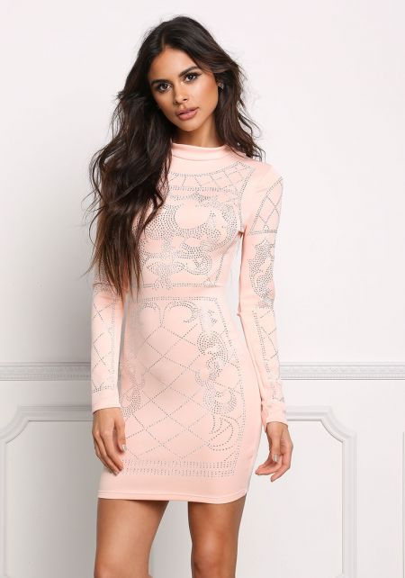 Blush Beaded Bodycon Dress