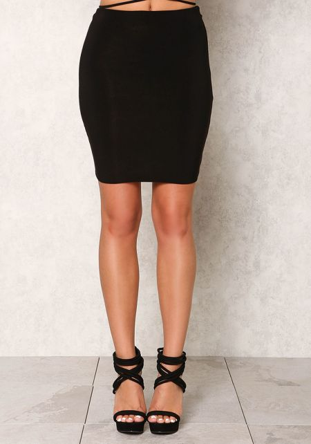 Black Stretchy High Waist Skirt