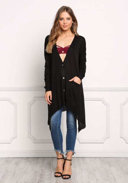 Black Button Down Pointed Cardigan