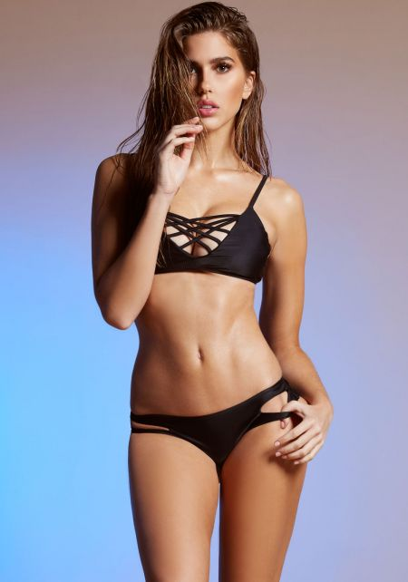 Black Strappy Cami Bikini Set