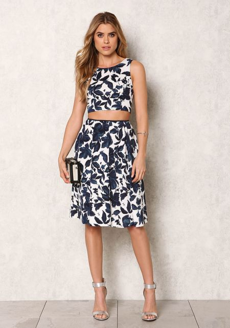 Navy Floral Pleat High Rise Skirt