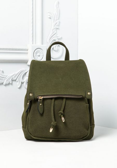 Olive Multi Pocket Drawstring Backpack
