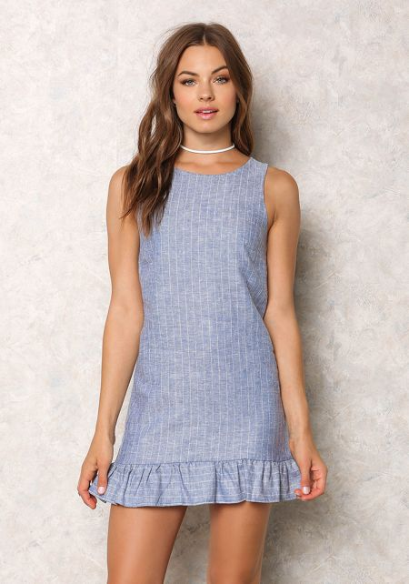 Denim Linen Pinstripe Ruffle Shift Dress