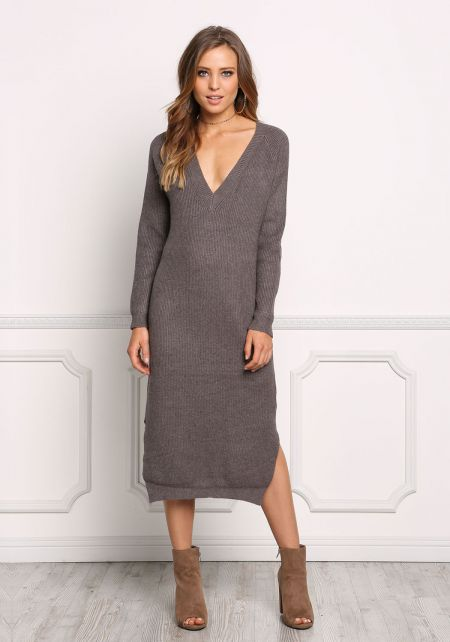 Charcoal Chunky Knit Shift Midi Dress
