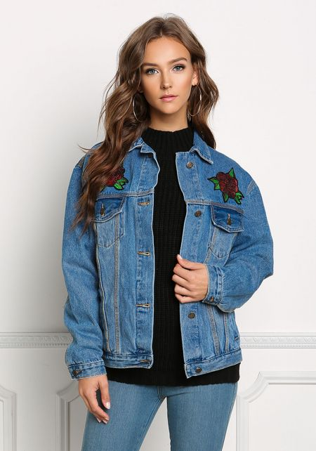 Denim Sequin Rose Jacket