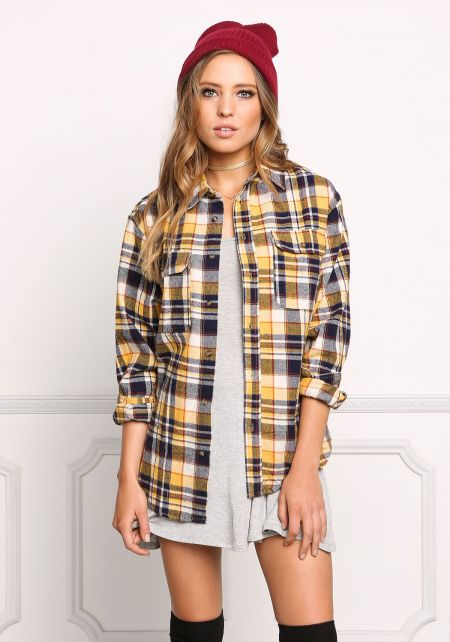 Yellow Plaid Soft Washed Flannel Top