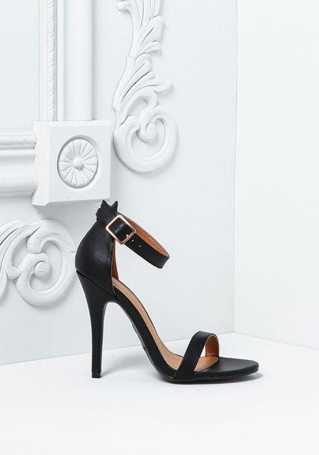 Black Leatherette Single Ankle Strap Heels
